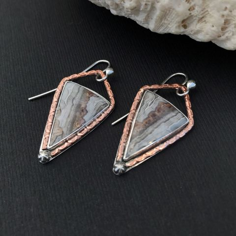 Mixed,Metal,Crazy,Lace,Agate,Dangles,Copper,and,Sterling,Silver,mixed metal agate earrings, hand fabricated sterling silver agate earrings, mixed metal agate dangles