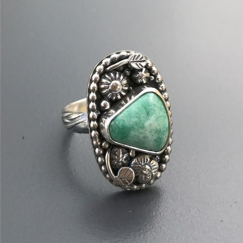 Broken,Arrow,Varicite,Ring,Size,8,1/4,Silversmith,Flower,Garden,broken arrow variscite ring, green variscite sterling silver jewelry, hand fabricated variscite flower ring