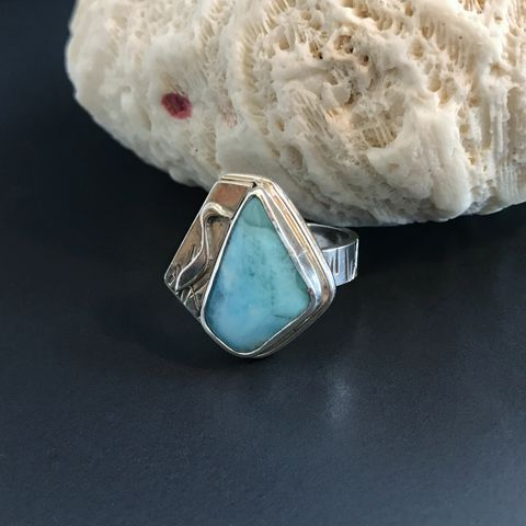Larimar,Ring,Sterling,Silver,Artisan,Silversmith,Tropical,Egret,sterling silver larimar ring, sterling silver artisan ring, light blue silversmith ring, tropical egret jewelry