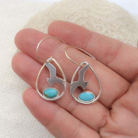 Seagull Bird Earrings Sterling Silver Turquoise Dangles - product images  of