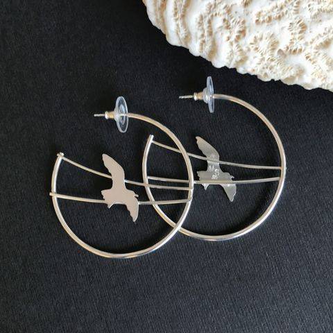 Sterling,Silver,Bird,Hoops,,Artisan,Seagull,Earrings,Sterling silver bird hoops, artisan handcrafted bird earrings, sterling seagull earrings, silversmith bird earrings