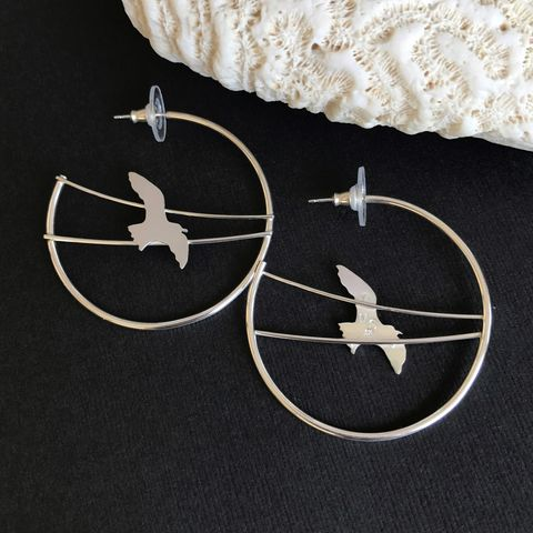 Sterling Silver Bird Hoops, Artisan Seagull Earrings - product images  of
