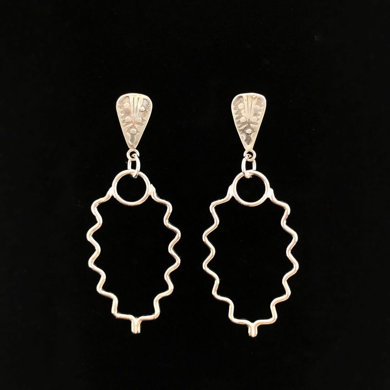 Sterling Silver Dangle Earrings, Geometric Design - product images  of