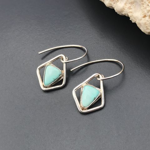 Small,Turquoise,Earrings,,Minimalist,Triangle,Dangles,,Sterling,Silver,minimalist turquoise earrings, handfabricated turquoise dangles, sterling silver and turquoise contemporary earrings