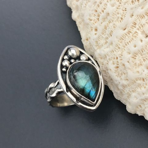 Blue,Labradorite,Ring,Size,6,1/2,Sterling,Silver,Nautical,Theme,Blue labradorite ring, Sterling silver labradorite ring, hand fabricated, blue stone ring