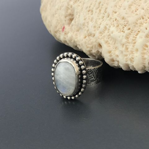 Rainbow,Moonstone,Ring,Size,6,1/2,Leaf,Pattern,Wide,Band,Rainbow moonstone ring, June Birthstone, artisan hand stamped wide band, leaf motif silver ring, silversmith moonstone ring