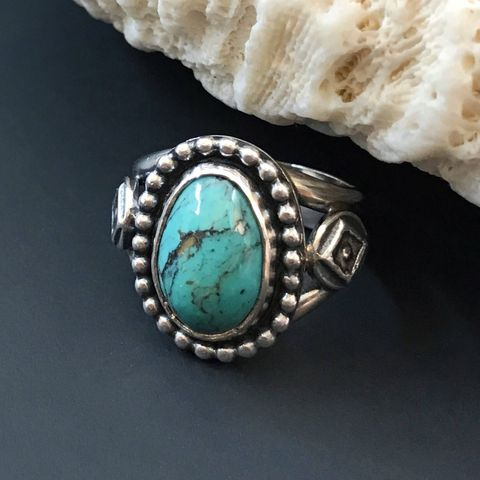 Kingman Turquoise Ring Size 5 3/4 Pinky Ring Artisan Sterling Silver Geometric - product images  of