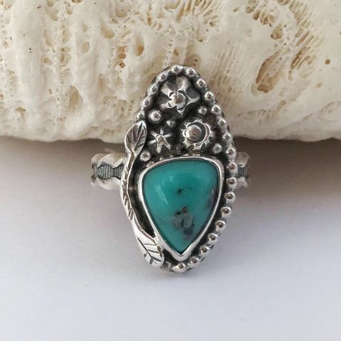 Kingman,Turquoise,Size,7,1/2,Marquis,Sterling,Silver,Flower,Ring,kingman turquoise ring, turquoise flower ring, artisan sterling silver jewelry