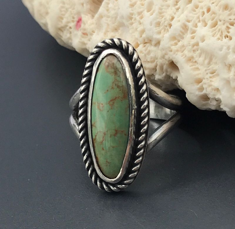 Green Turquoise Ring, Size 7 3/4 Handmade Sterling Silver - product images  of
