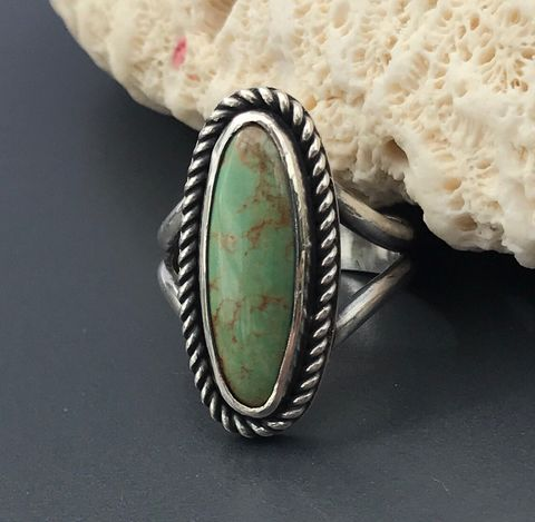 Green,Turquoise,Ring,,Size,7,3/4,Handmade,Sterling,Silver,green turquoise ring, kingman turquoise jewelry, turquoise and sterling silver ring, hand fabricated turquoise ring