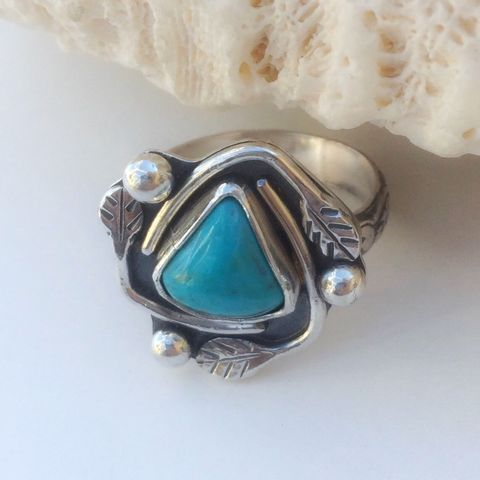 Kingman,Turquoise,Ring,Size,7,3/4,Leaf,Design,Stacking,Sterling silver kingman turquoise ring, silversmith leaf ring, gift for gardener, nature lover gift, artisan design turquoise