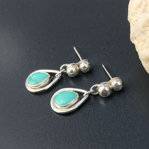 Blue,Turquoise,Dangles,Sterling,Rain,Drop,Post,Earrings,carico lake turquoise earrings, sterling silver raindrop earrings, silversmith turquoise dangles