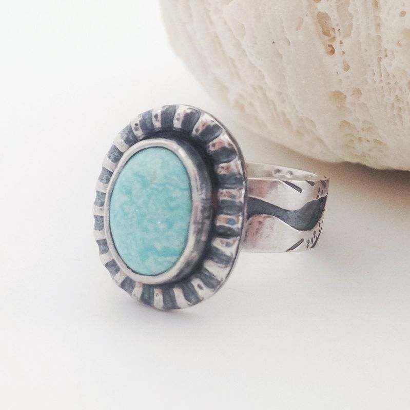 Egret Bird Turquoise Ring Size 6 1/2 Sterling Silver Wide Band - product images  of