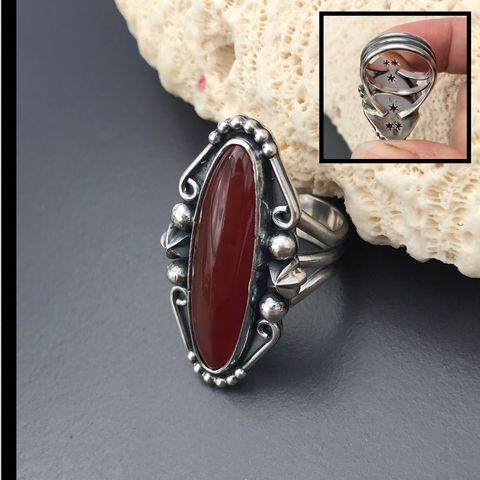Red,Chalcedony,Ring,Sterling,Silver,Size,7,Star,Design,On,Reverse,red chalcedony silver ring, Sterling silver chalcedony, July birthstone, red stone bohemian jewelry, size 7 silversmith ring
