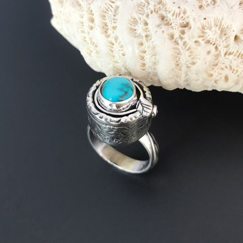Turquoise Hummingbird Ring, Hand Fabricated Sterling Silver - product images  of
