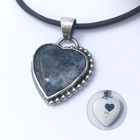 Black,and,White,Heart,Necklace,,Dendritic,Agate,,Adjustable,Length,dendtitic agate heart necklace, silversmith heart jewelry, black and white heart charm