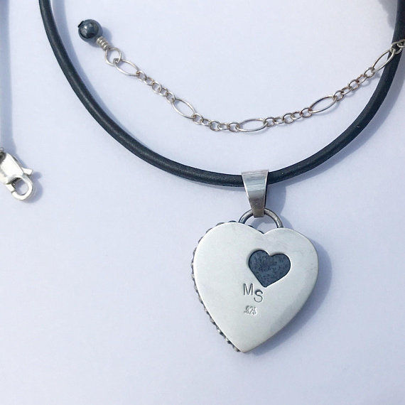 Black and White Heart Necklace, Dendritic Agate, Adjustable Length - product images  of