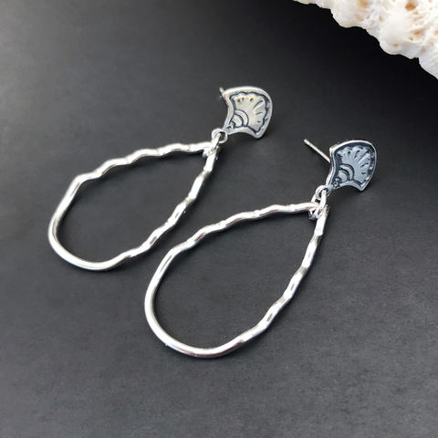 Lightweight Sterling Silver Earrings, Teardrop Dangles - product images  of