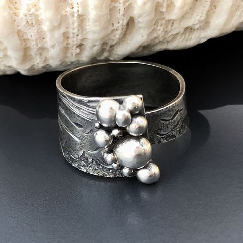 Wrap,Style,Seascape,Ring,Hand,Fabricated,from,Sterling,Silver,sterling silver seascape ring, hand fabricated sterling silver ring, hand fabricated beach lover gift