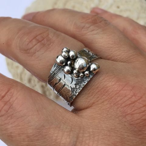 Wrap Style Seascape Ring Hand Fabricated from Sterling Silver - product images  of