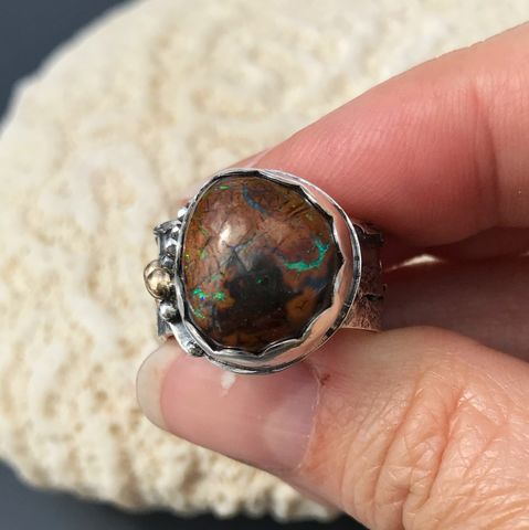 Kroit Boulder Opal Ring, Hand Fabricated Sterling Silver and 14K Gold, Seascape Theme - product images  of