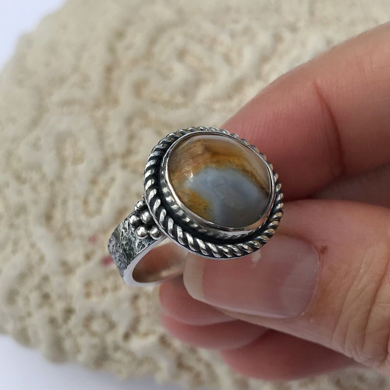 Lake Superior Agate Ring, Artisan Handmade Sterling Silver Size 7 - product images  of