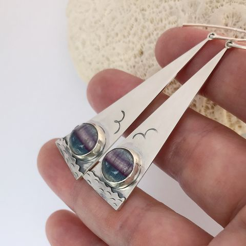Fluorite Earrings, Hand Fabricated from Sterling Silver, Seascape Design - product images  of