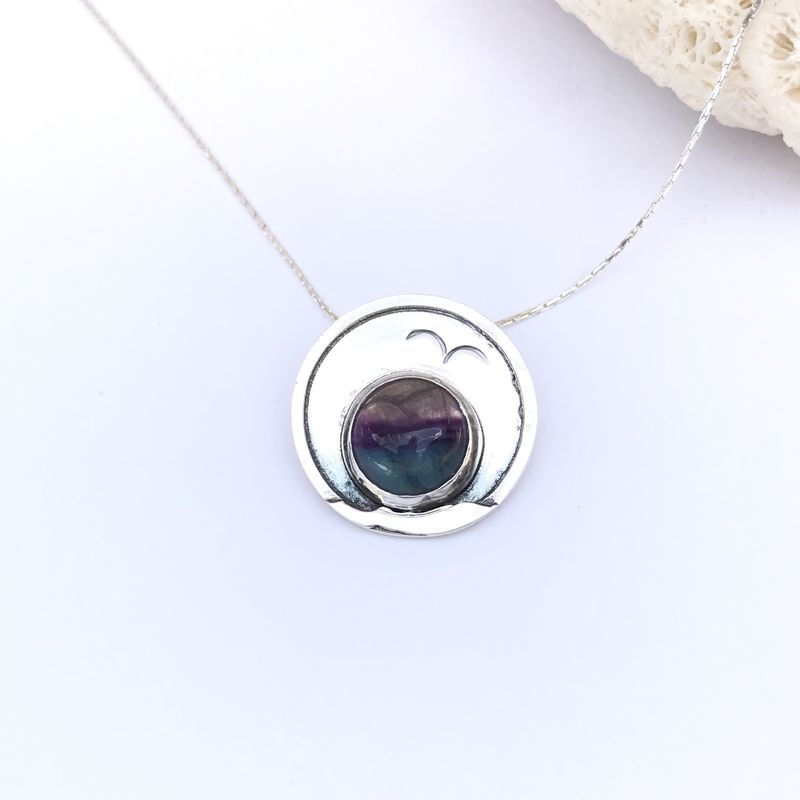 Fluorite Necklace, Hand Fabricated Sterling Silver, Seascape Design - product images  of