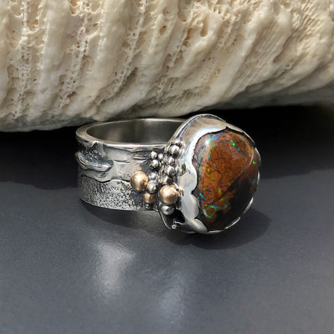 Kroit,Boulder,Opal,Ring,,Hand,Fabricated,Sterling,Silver,and,14K,Gold,,Seascape,Theme,sterling silver kroit boulder opal ring, October birthstone, hand fabricated sterling silver jewelry, Sterling and 14k gold ring, seascape theme ring