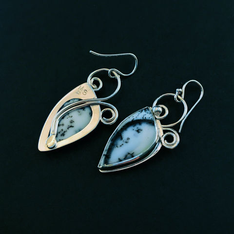 Hand Fabricated Dendritic Agate Earrings, Black and White Stone Dangles - product images  of