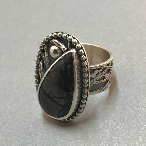 Picasso,Jasper,Ring,,Tree,and,Bird,Theme,,Hand,Fabricated,Sawcut,Wide,Band,sterling silver picasso jasper ring, black stone sterling silver ring, hand fabricated jasper jewelry, Sterling silver bird jewelry