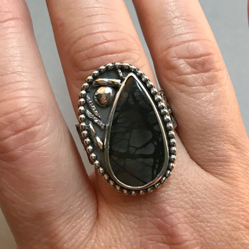 Picasso Jasper Ring, Tree and Bird Theme, Hand Fabricated and Sawcut Wide Band - product images  of