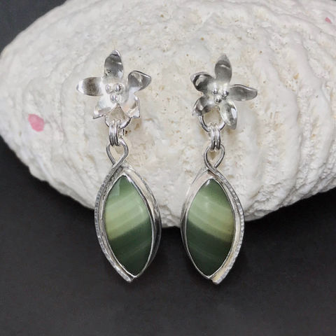 Organic Flowers Earrings with Imperial Jasper and Sterling Silver - product images  of