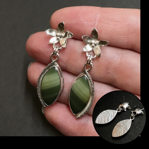 Organic,Flowers,Earrings,with,Imperial,Jasper,and,Sterling,Silver,sterling silver imperial jasper earrings, hand fabricated green stone jewelry, sterling silver flower dangles