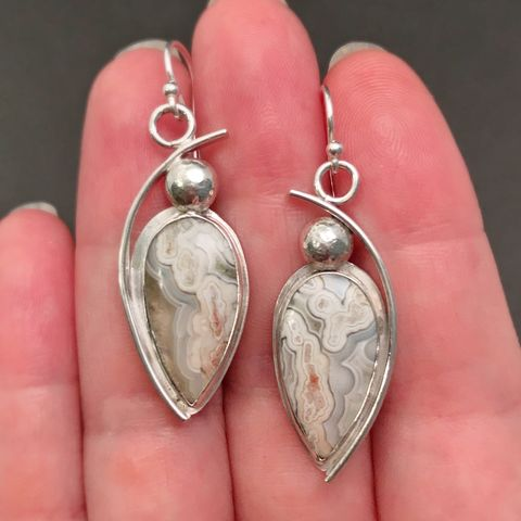 Crazy Lace Agate Earrings Artisan Sterling Silver Dangles - product images  of