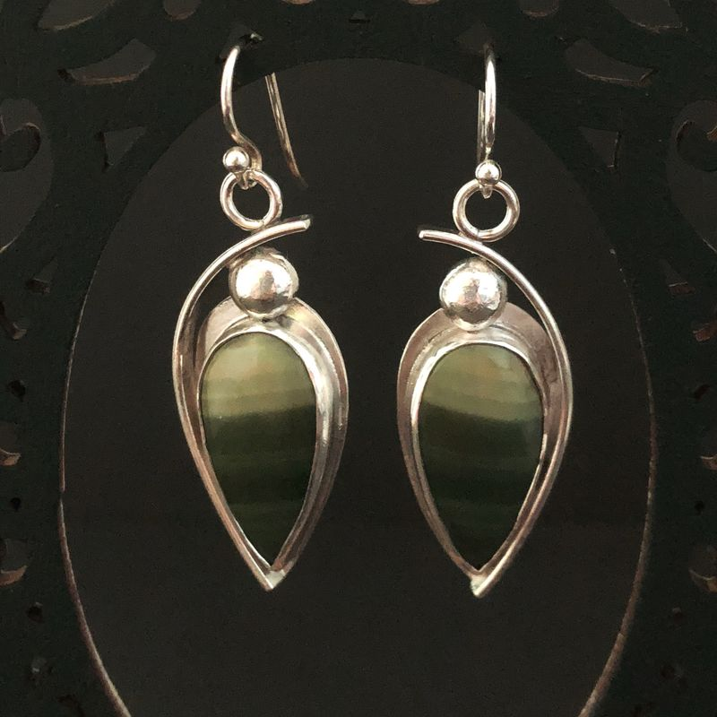 Imperial Jasper Dangle Earrings Contemporary Sterling Silver Design  - product images  of