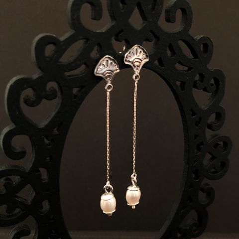 Long Freshwater Pearl Earrings in Sterling Silver - product images  of