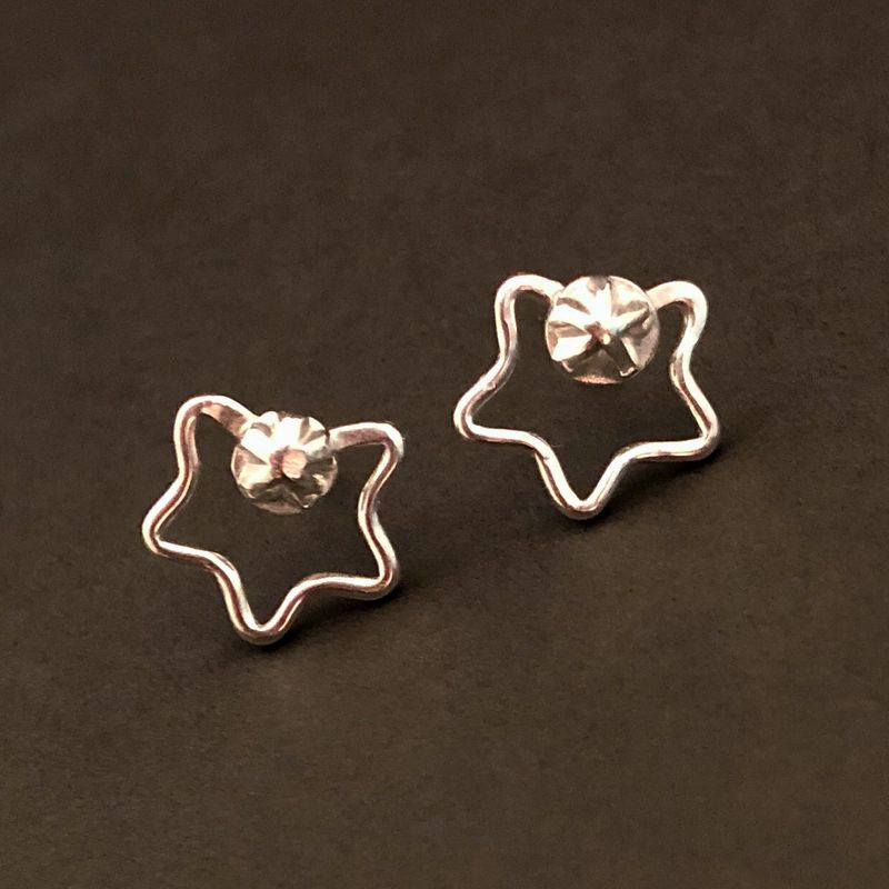 Sterling Silver Star Stud Earrings, Artisan Fabricated - product images  of