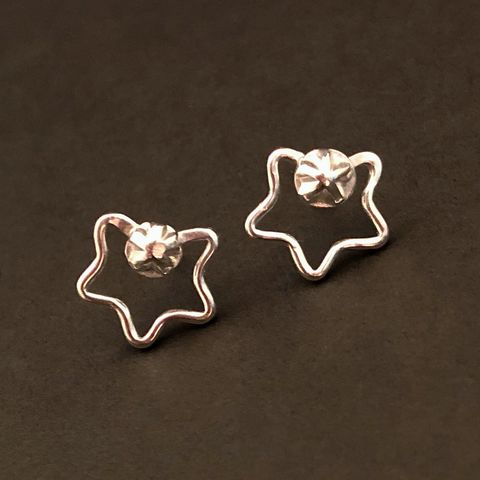 Sterling,Silver,Star,Stud,Earrings,,Artisan,Fabricated,sterling silver star studs, hand fabricated star earrings, artisan made sterling silver jewelry, sterling silver stars