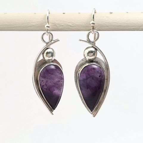 Contemporary,Amethyst,Earrings,,Hand,Fabricated,Sterling,Silver,contemporary sterling silver amethyst earrings, hand fabricated sterling silver jewelry, purple stone sterling dangles