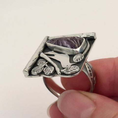 Charoite Ring Sterling Silver Hand Fabricated Bird in Nest Design Size 9 - product images  of