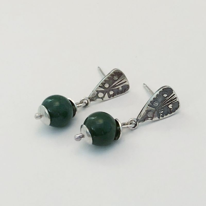 Green Jasper Dangle Earrings Hand Fabricated from Sterling Silver - product images  of