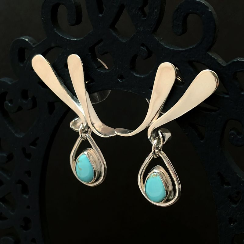 Forged Turquoise Dangles, Sterling Silver Organic Shape Posts - product images  of