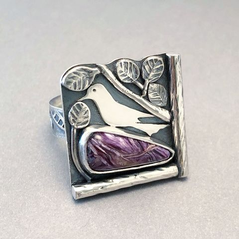 Charoite,Ring,Sterling,Silver,Hand,Fabricated,Bird,in,Nest,Design,Size,9,charoite ring, purple bird ring, hand fabricated sterling silver, bird in nest jewelry