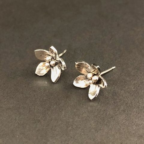 Sterling Silver Flower Studs Individually Hand Fabricated, Medium Size - product images  of