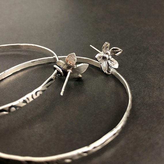 Large Sterling Silver Flower Hoops, Hand Fabricated Organic Look - product images  of