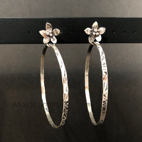 Large,Sterling,Silver,Flower,Hoops,,Hand,Fabricated,Organic,Look,large sterling silver flower hoops, hand fabricated jewelry, organic look earrings