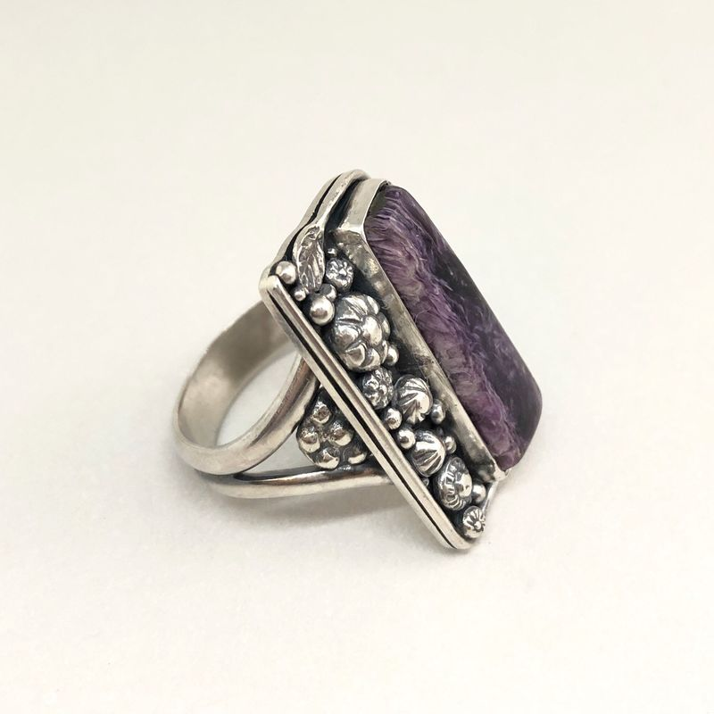 Charoite Ring, Size 9 Sterling Silver Hand Fabricated Flower Design - product images  of