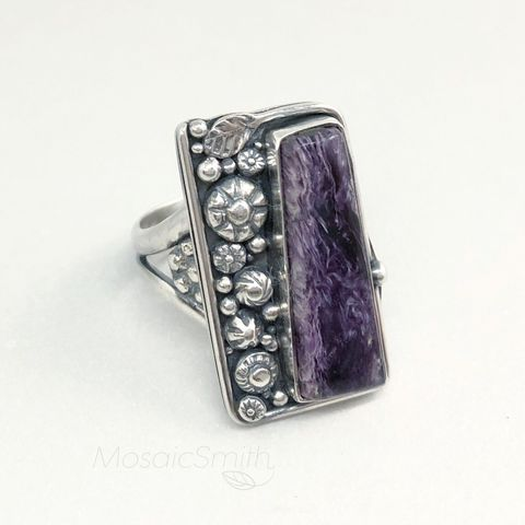 Charoite,Ring,,Size,9,Sterling,Silver,Hand,Fabricated,Flower,Design,charoite ring, purple stone ring, hand fabricated, sterling silver jewelry, purple flower ring