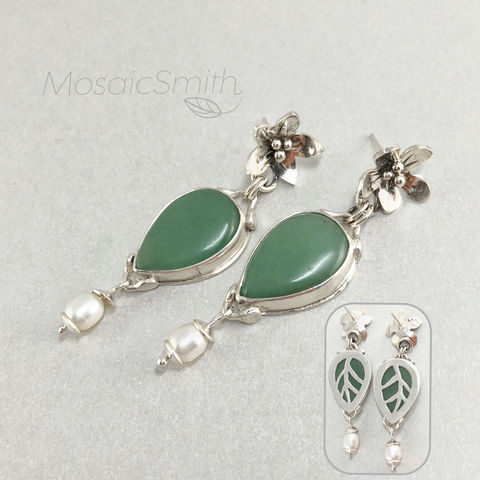 Chrysoprase,Earrings,,Hand,Fabricated,Flower,Theme,,Freshwater,Pearl,Dangles,Chrysoprase earrings, hand fabricated Sterling silver, freshwater pearl dangles, green statement earrings